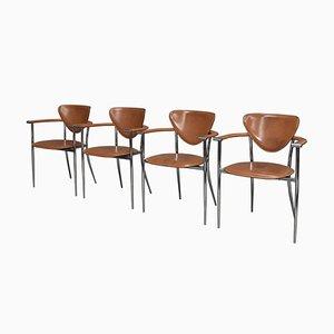 Italienische Stiletto Esszimmerstühle von Arrben, 1980er, 4er Set
