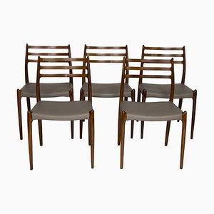 Modell 78 Esszimmerstühle aus Palisander von Niels Otto Møller, 1960er, 5er Set