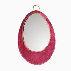 Oval Red Velvet Mirror, 1960s
