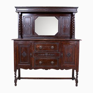 Antique Oak Ebonised Mirrored Credenza