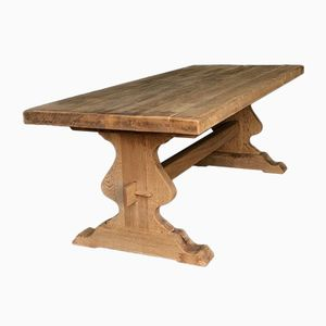 Antique French Solid Oak Kitchen Dining Table