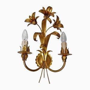 Goldene florale Vintage Wandleuchten, 2er Set