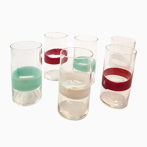 Glasses by Fulvio Bianconi for Venini, 1950s, Set of 6