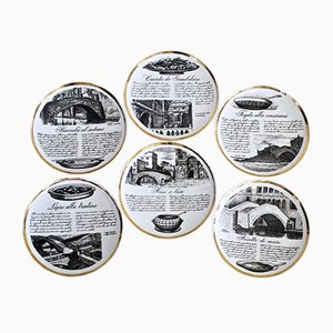 Vintage Plates by Piero Fornasetti, Set of 6