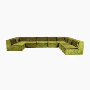 Large Vintage Green Velvet Lounge Sofa