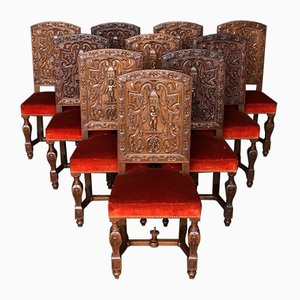 Antique Walnut Dining Chairs, Set of 10