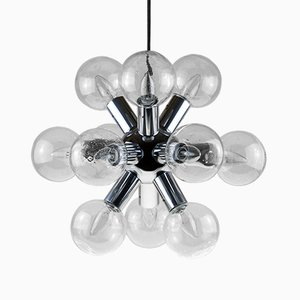 Vintage Sputnik Glass & Chrome Chandelier by J.T. Kalmar, 1970s