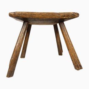Antiker rustikaler Hocker aus Ulmenholz