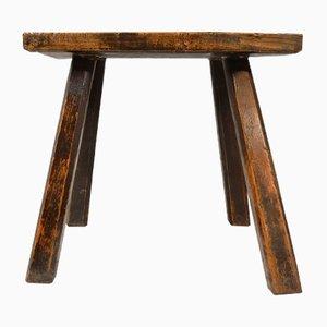 Antiker Hocker aus Ulmenholz