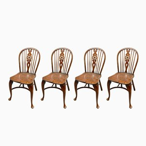 Vintage Wheelback Dining Chairs, Set of 4