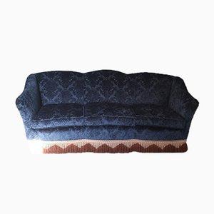 Vintage Blue Velvet Sofa