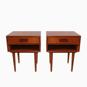 Tables de Chevet Scandinaves en Teck par Johannes Andersen pour Dyrlund, 1960s, Set de 2