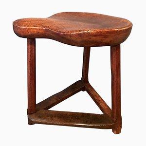 Taburete de zapatero antiguo de madera de cerezo y roble