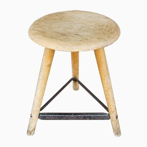Industrial Beech Stool, 1930s