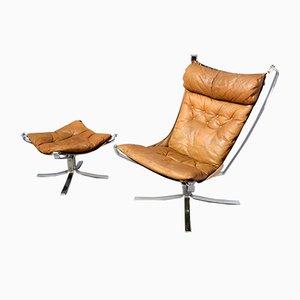 Chaise et Ottomane Falcon Vintage par Sigurd Ressell pour Vatne Møbler Stahlrahmen