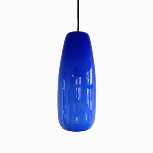 Italian Cobalt Blue Sigaro Pendant Lamp by Massimo Vignelli for Venini, 1950s