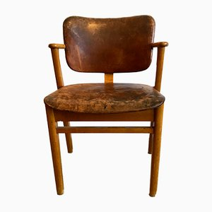 Wood & Leather Domus Chair by Ilmari Tapiovaara, 1950s