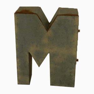 Letra M Italina de estaño, años 70