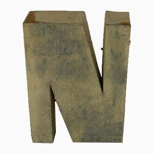 Italian Tin Letter N, 1970s