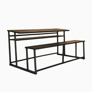 Modernist School Desk with Integrated Steel Bench, 1960s