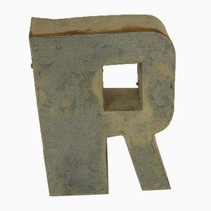 Italian Tin Letter R, 1970s
