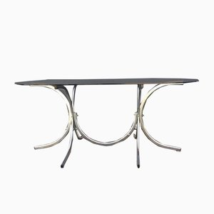Smoked Glass & Chrome-Plated Dining Table, 1970s