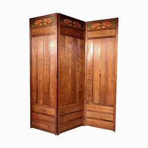 Antique Art Nouveau Oak 3-Piece Screen