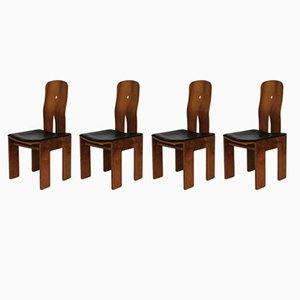 Walnut & Black Leather Mod1934/765 Chairs by Carlo Scarpa for Bernini, 1977, Set of 4