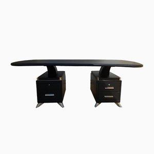 Skai & Lacquered Metal Boomerang Desk, 1950s
