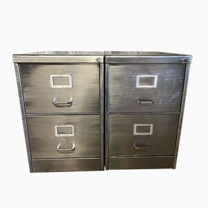 Vintage Industrial Stripped Metal Filing Cabinets, Set of 2