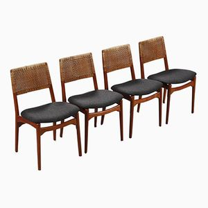 Vintage Danish Teak & Rattan Dining Chairs by E. Knudsen for Jensen & Lykkegaard, Set of 4