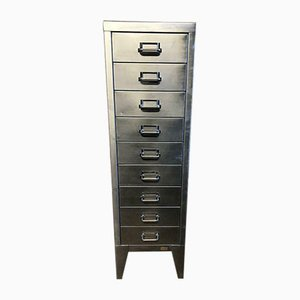 Vintage Industrial Stripped Metal 9 Drawer Filing Cabinet from Stor