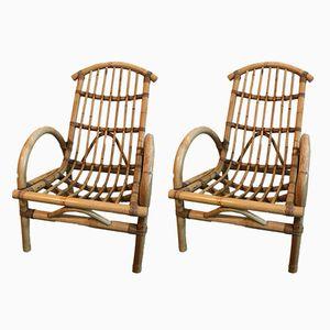 Vintage Italian Rattan Armchairs, Set of 2