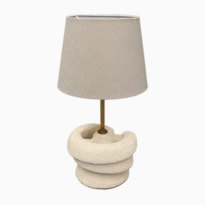 Vintage French Limestone Table Lamp by Pierre du Gard, 1970s