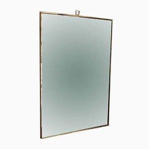 Espejo de pared italiano Mid-Century rectangular con marco de latón, años 50