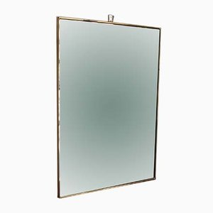 Mid-Century Italian Rectangular Wall Mirror with Brass Frame, 1950s