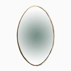 Mid-Century Italian Oval-Shaped Wall Mirror with Brass Frame, 1950s