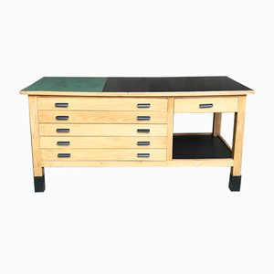 Wood & Steel Workbench with 6 Drawers, 1950s
