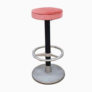 Vintage Industrial Pink Velvet Bar Stool