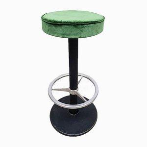 Taburete de bar industrial vintage de terciopelo verde