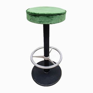 Vintage Industrial Green Velvet Bar Stool