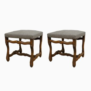 Os De Mouton Linen Footstools, 1940s, Set of 2