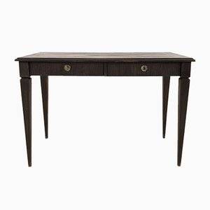 Antique Gustavian Black-Painted Writing Desk