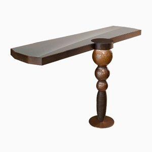 Consolle Drummond in legno, vetro e acciaio inossidabile di VGnewtrend