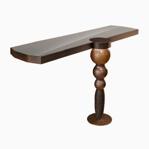 Wood, Glass & Stainless Steel Drummond Console Table from VGnewtrend