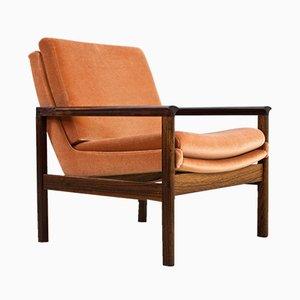 Scandinavian Modern Rosewood & Velvet Armchair by Knut Saeter, 1960s