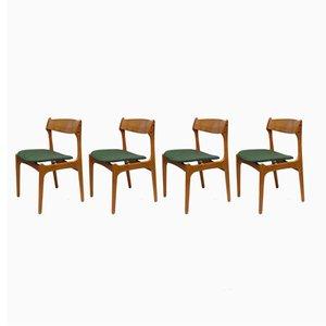 Sedie da pranzo nr. 49 in teak di Erik Buch per Odense Maskinsnedkeri, anni '60, set di 4