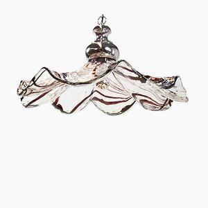 Lámpara colgante Fazzoletto italiana grande de vidrio soplado de Industria Lampadari Milano, años 60