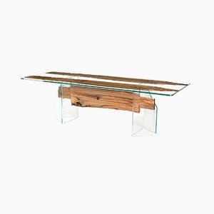 Mesa de comedor Venezia de roble y vidrio templado de VGnewtrend