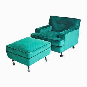 Viereckiger Sessel & Fußhocker von Marco Zanuso für Arflex, 1960er